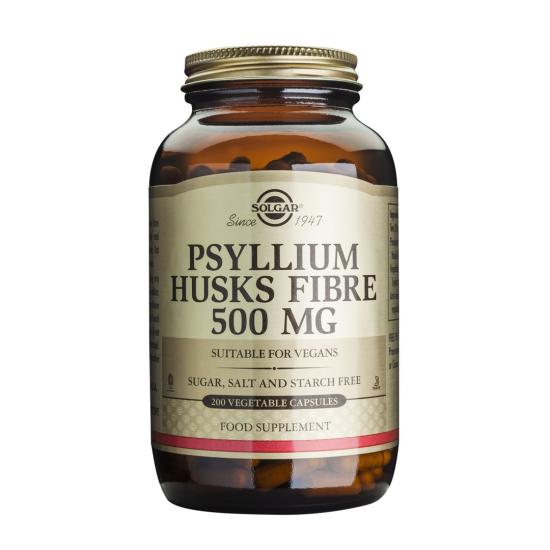 Psyllium Husks Fibre 500mg, 200 caps, SOLGAR