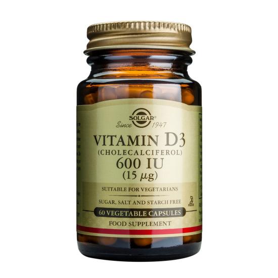 Vitamina D3 600 IU (Colecalciferol) (15 mcg), 60 caps, SOLGAR
