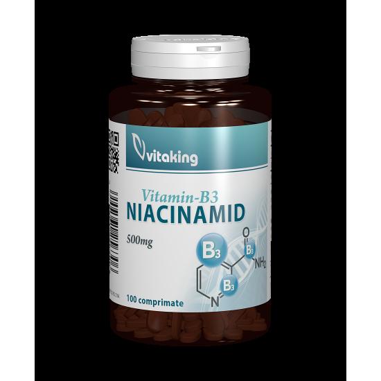 Vitamina B3 (Niacinamida) 500mg, 100 tablete, Vitaking
