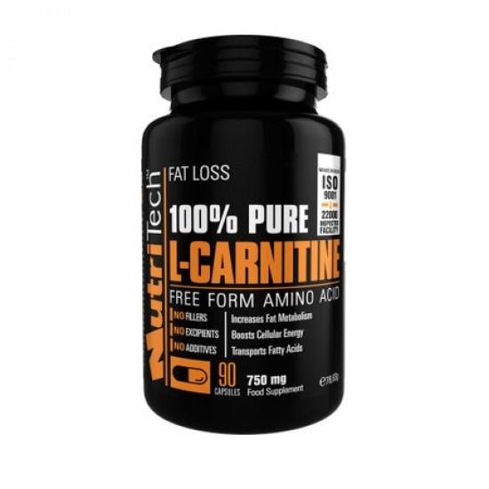 100% Pure Carnitine, 750 mg/caps, 90 caps, Nutritech